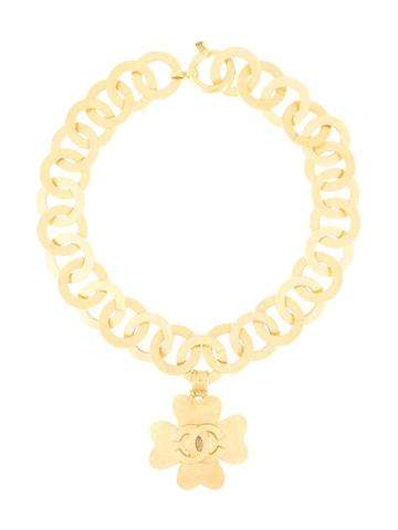 Chanel Pre-owned 1995 Spring Cc Clover Necklace - Gold