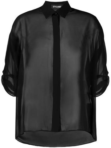 Styland Sheer Blouse - Black