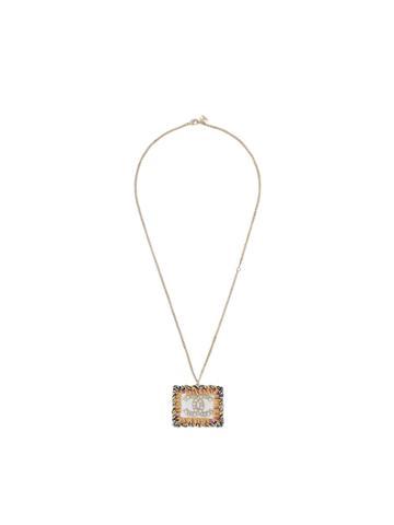 Chanel Vintage Cc Logos Imitation Pearl Pendant Necklace - Metallic