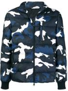 Valentino Camouflage Print Bomber Jacket - Blue