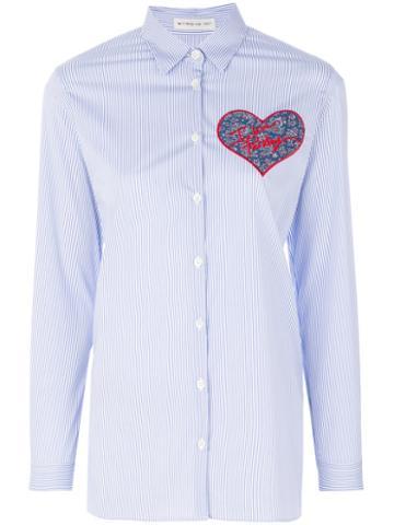 Etro - I Love Paisley Patch Shirt - Women - Cotton/polyamide/spandex/elastane/viscose - 48, Blue, Cotton/polyamide/spandex/elastane/viscose