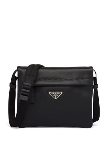 Prada Logo Plaque Bi-fold Messenger Bag - Black