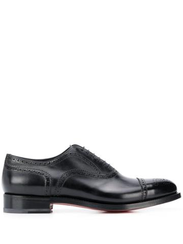 Santoni Perforated Low-heel Oxford Shoes - Black