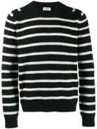 Saint Laurent Crew Neck Striped Sweater - Black