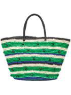 Sensi Studio - Stripes And Pepitas Maxi Tote Bag - Women - Straw - One Size, Green, Straw