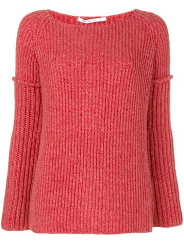 Agnona - Ribbed Jumper - Women - Polyamide/camel Hair/wool - L, Red, Polyamide/camel Hair/wool