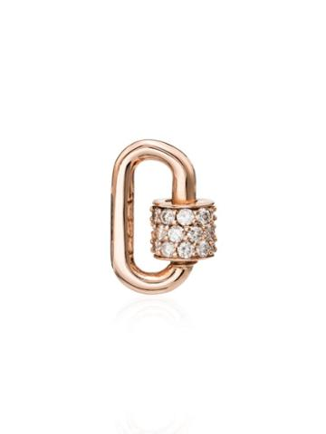 Marla Aaron Rose Gold Chubby Baby Diamond Charm Lock - Metallic