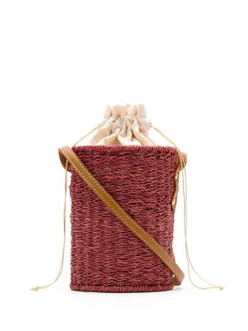 Serpui Wicker Bucket Bag - Red