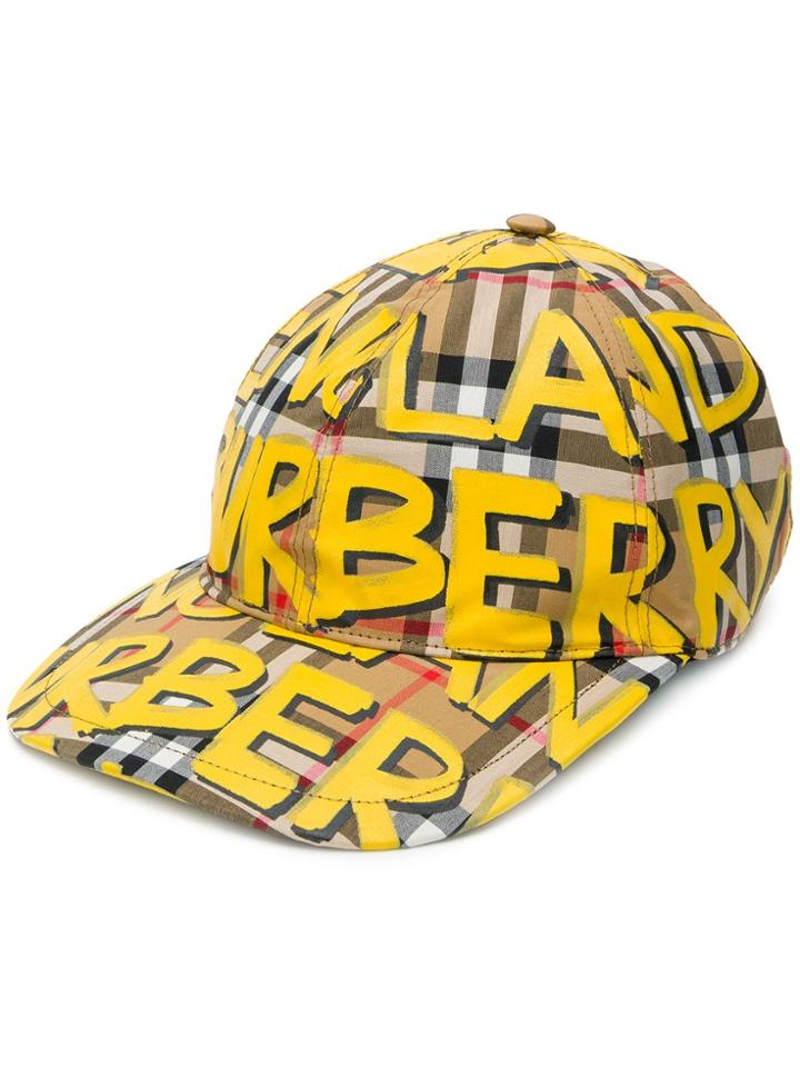 Burberry Graffiti Print Baseball Cap - Yellow & Orange