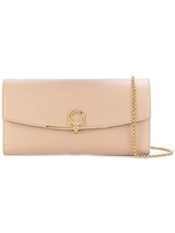 Salvatore Ferragamo - Gancio Clutch Bag - Women - Leather - One Size, Pink/purple, Leather
