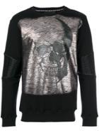 Philipp Plein Metallic Skull Print Top - Black