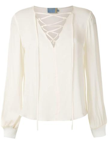 Cruise Laces Silk Blouse - White