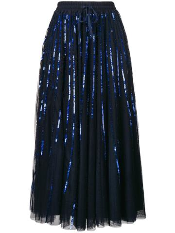P.a.r.o.s.h. Midi Pleated Sequins Skirt - Blue