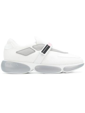 Prada Touch Strap Logo Sneakers - White