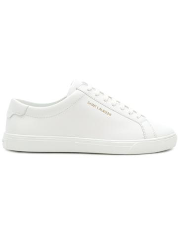 Saint Laurent Embossed Logo Lace-up Sneakers - White