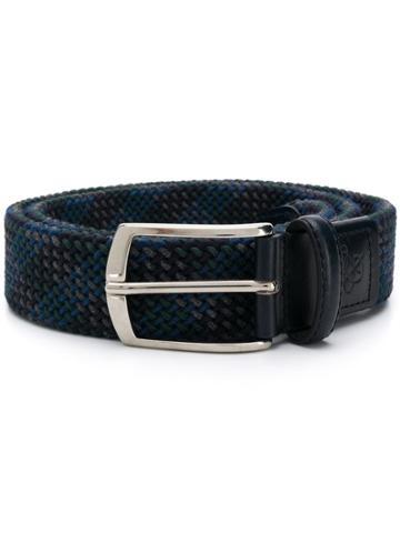 Canali Logo Embossed Buckle Belt - Blue