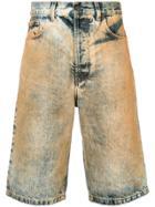 Paura Washed Denim Shorts - Multicolour