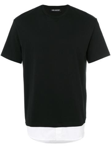 Neil Barrett - Shirt Hem T-shirt - Men - Cotton - M, Black, Cotton