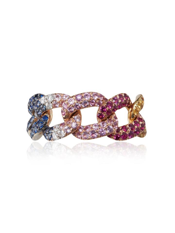 Shay Rainbow Jumbo Diamond Link Ring - Multicolour