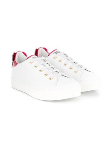 Moschino Kids Low Top Teddy Sneakers - White