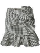 Veronica Beard Gingham Ruffle Miniskirt - Black