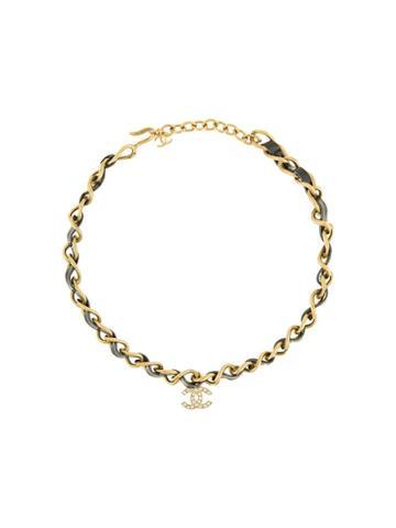 Chanel Vintage Chanel Vintage Cc Logos Rhinestone Gold Chain Pendant