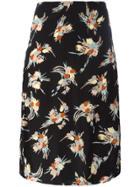 Marni Floral Print Pencil Skirt - Black
