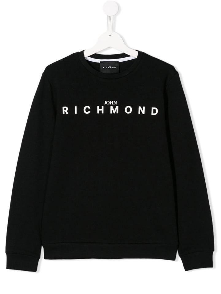 John Richmond Junior Teen Classic Logo Print Sweater - Black