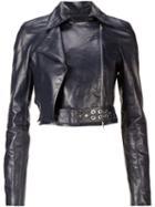 Mugler Cropped Leather Jacket