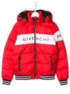 Givenchy Kids Teen Hooded Puffer Coat - Red