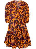Kenzo Bird Print Dress - Orange