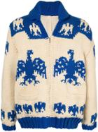 Fake Alpha Vintage Intarsia Knit Cardigan - Neutrals