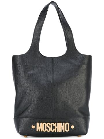 Moschino - Logo Plaque Tote Bag - Women - Leather/suede/calf Hair - One Size, Black, Leather/suede/calf Hair