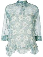 Prada Printed Crepe De Chine Blouse - Green