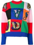Versace Logo Patchwork Jumper - Red