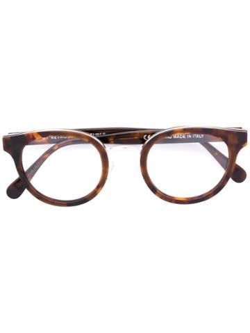 Retrosuperfuture - Round Frame Glasses - Unisex - Acetate/metal - 48, Brown, Acetate/metal
