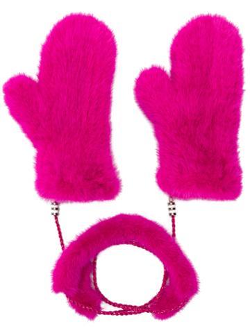 Liska - Fur Mittens With Chain Link - Women - Mink Fur - One Size, Pink/purple, Mink Fur