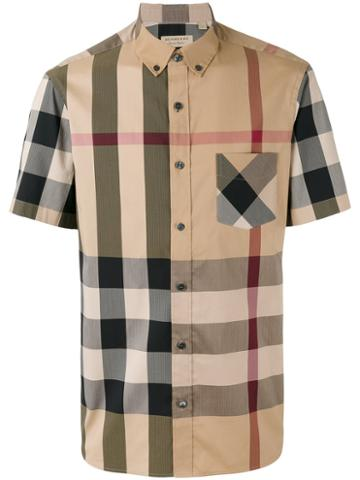 Burberry - Checked Shortsleeved Shirt - Men - Cotton/spandex/elastane/polyimide - L, Nude/neutrals, Cotton/spandex/elastane/polyimide