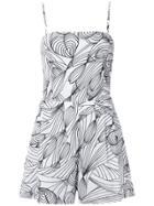 Isolda Printed Playsuit - White