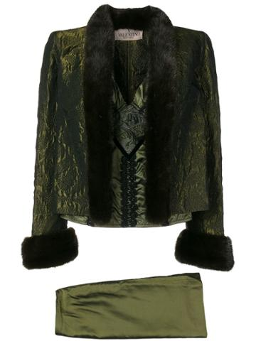 Valentino Vintage 1990's Dress And Jacket Suit - Green