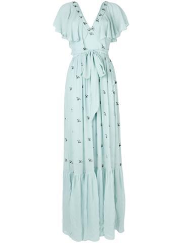 Temperley London - Starling V Neck Dress - Women - Cellulose - 8, Blue, Cellulose