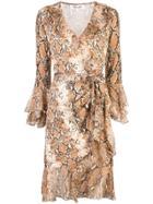 Dvf Diane Von Furstenberg Elowen Snakeskin-print Wrap Dress - Brown