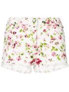 Faith Connexion Floral Print Denim Shorts - White