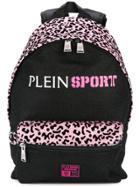 Plein Sport Leopard Print Glitter Backpack - Black