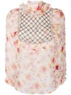 Dodo Bar Or Floral Print Crystal Embellished Bib Shirt - Multicolour