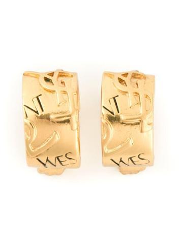 Yves Saint Laurent Vintage Ysl Embossed Hoop Clip-on Earrings