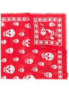 Alexander Mcqueen Skull Print Scarf - Red