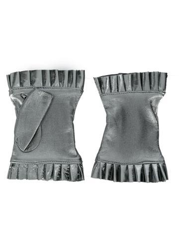 Gala Gloves Frilled Fingerless Gloves - Silver