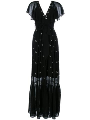 Temperley London - Starling V Neck Dress - Women - Cellulose - 12, Black, Cellulose