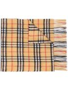Burberry Antique Yellow Vintage Check Cashmere Scarf - Yellow & Orange